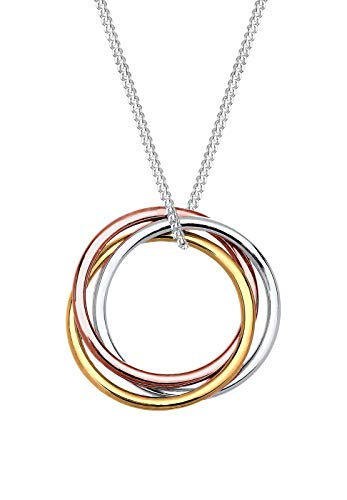 Elli Halskette Kreis Anhänger Tricolor Look 925 Sterling Silber
