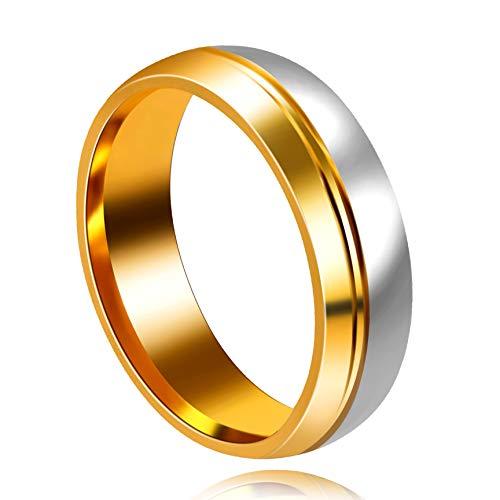 Uloveido Titanio Acero Plata Oro Color Compromiso de Boda Promesa Confirmar Fit Anillos de Banda para Hombres Niños San Valentín Y556