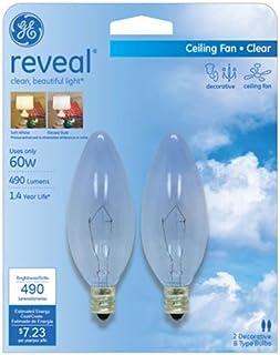 GE Lighting 48714 60-Watt Reveal Blunt Tip B10 2-Pack