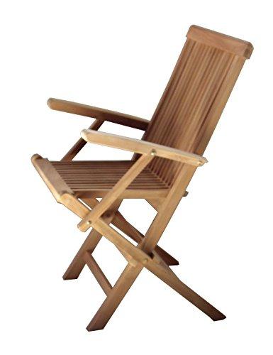 BEHO Natürlich gut in Holz ! Beho Natürlich gut in Holz 2 Klappstühle mit Arm Epppendorf 56x60x89 cm Teakholz Selected Kernholz unbehandelt zusammengebaut