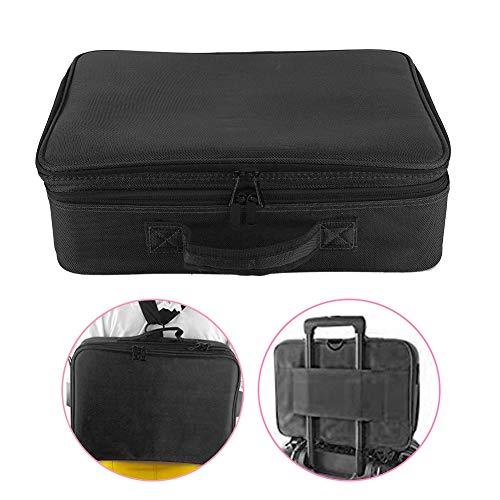 Sac de rangement cosmétique de mise à niveau 3 couches - grande capacité de voyage portable pouvant être réglée Trolley Bag Sac de maquillage Tattoo Beauty Products Box(noir)