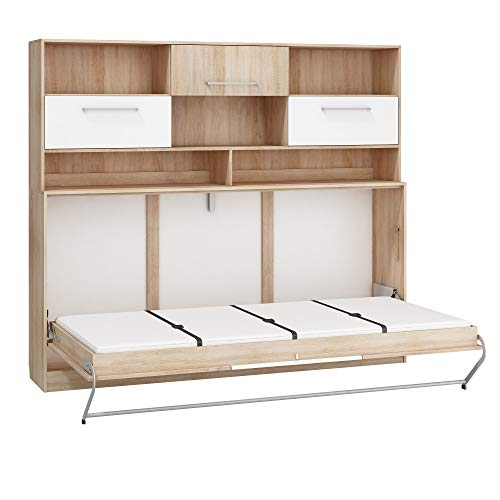 Furniture.Agency Kids Murphy Bed with Storage Metal frame, mattress included Sonoma OAK/White Gloss