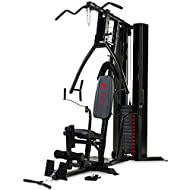 90kg solid vinyl weight stack with selector pin   Independent adjustable chest press can angle to flat, incline & shoulder press Independent pec dec arms simulate free weight movement   High pulley system with lat bar   Low pulley with foot plate for...