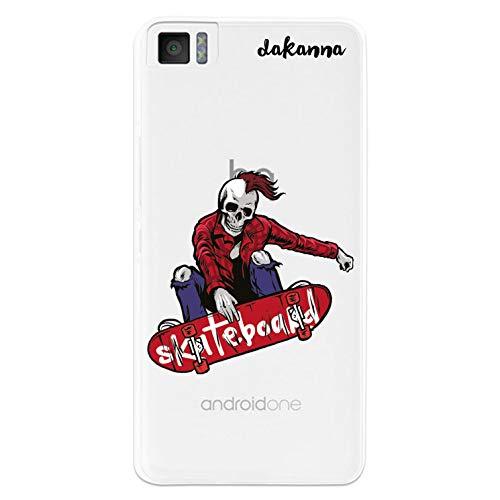 dakanna Kompatibel mit [Bq Aquaris M4.5 - A4.5] Flexible Silikon-Handy-Hülle [Transparenter Hintergr&] Schädel-Skater Phrasen Skateboard Design, TPU Hülle Cover Schutzhülle für Dein Smartphone