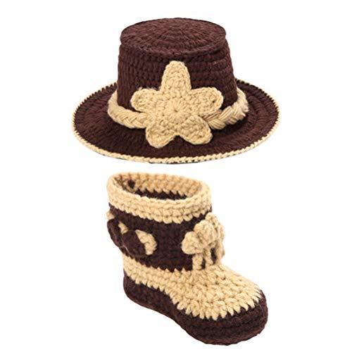 PRETYZOOM in Kaffee Wolle Stricken Babyschuhe Mütze Set Handgemachte gestrickte Cowboy Design Fotografie Kostüme Anzug Requisiten Gedenken Foto Outfits für Neugeborene for Woman