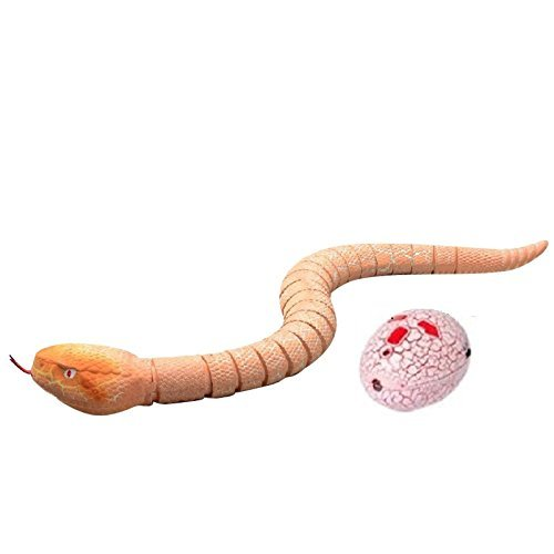 Liberty Imports 16 inches Realistic Remote Control RC Snake Toy with Egg-Shaped Infrared Controller (Brown)