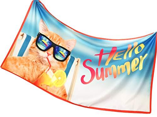 Tex family Toalla de playa de rizo, diseño de gato en la playa, tamaño grande, 90 x 170 cm