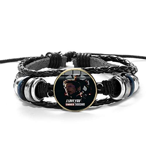 AIMICONG Herren Armband Herz Leder Armband 3D Gedruckte Glas Edelstein Charm Armbänder Armreifen Cc