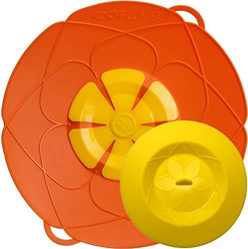 Kochblume - das Original vom Erfinder Armin Harecker L 29 cm orange | Überkochschutz für Topfgrößen von Ø 14 bis 24 cm | mit Frischhaltedeckel gratis
