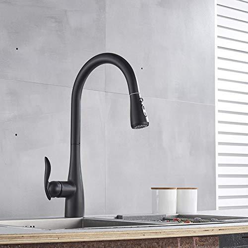 5151BuyWorld waterkraan, mat zwart/chroom/nikkel, geborsteld, keukenkraan, keukenkraan, mengkraan, koud en warm, keukenkraan Zwart