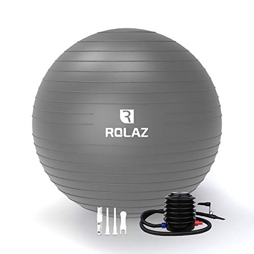 ROLAZ Exercise Ball Yoga Stability Ball Women Pregnancy Birthing Office Chair Ball for Fitness Workout Balance 65cm Gray