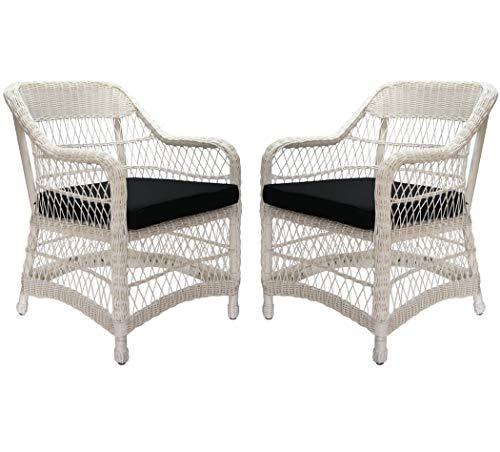 KMH®, 2er Set Weißer Polyrattan Gartensessel inklusive Sitzkissen (#106008)