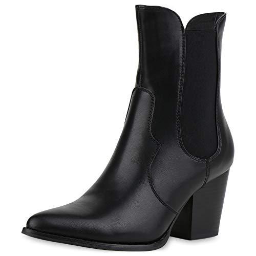 SCARPE VITA Dames Laarzen Cowboy Laarzen Makkelijk Gevoerde Western Laarzen Lederlook Schoenen Cowboylaarzen Mid Heel Westernboots