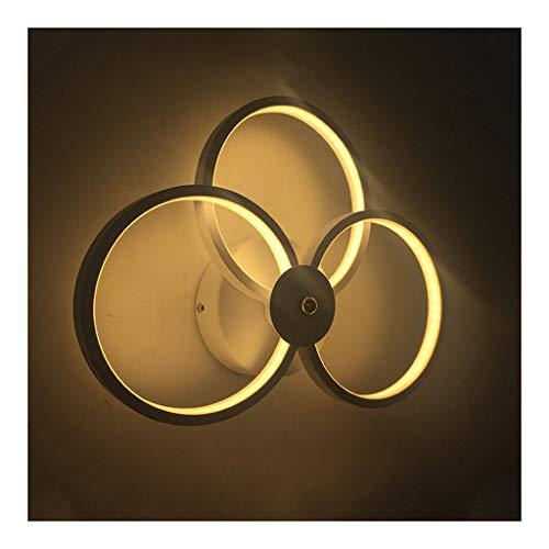 W. Lámpara de pared, LED simple moderna de tres-anillo de la lámpara de pared creativa Dormitorio Sala Corredor Sala de la lámpara de pared del pasillo [Clase de energía A ++] ( Color : White light )