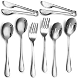 Stainless Steel Flatware Serving Utensils Large Serving Spoon Set of 9.45 Inch Metal Tongs 9 Inch Serving Forks 8.7 Inch Slotted Spoons 8.7 Inch Serving Spoons for Kitchen (Silver, 8)