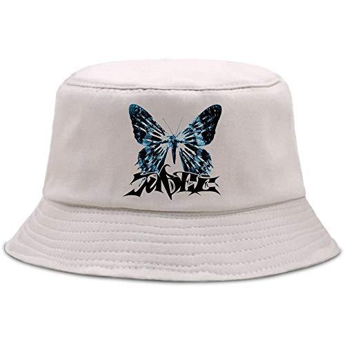 JXMK 56-58cm Sombrero de Pescador con Estampado de Mariposa de Moda Fresca Sombrero de Cubo Casual de algodón Puro Sombrero de Cubo de Moda Hip-Hop Sombrero de Sol Informal Unisex
