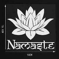 カーステッカー 16×15.1cm漫画ロータスヨガ瞑想ビニール車のステッカーデカールアート装飾ブラック/シルバー カーステッカー (Color Name : Silver)