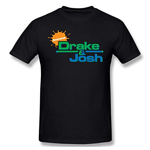 AlanSPerez Men Drake-&-Josh Casual Style Short Sleeve T Shirt,Black,Large