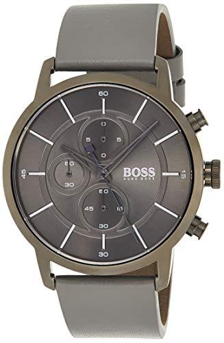 Hugo Boss Unisex Chronograph Quarz Uhr mit Leder Armband 1513570