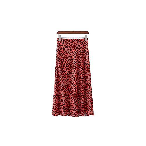 Vrouwen Retro Bloemen Hart Print Trompet Enkel Lengte Rok Elastische Taille Rokken
