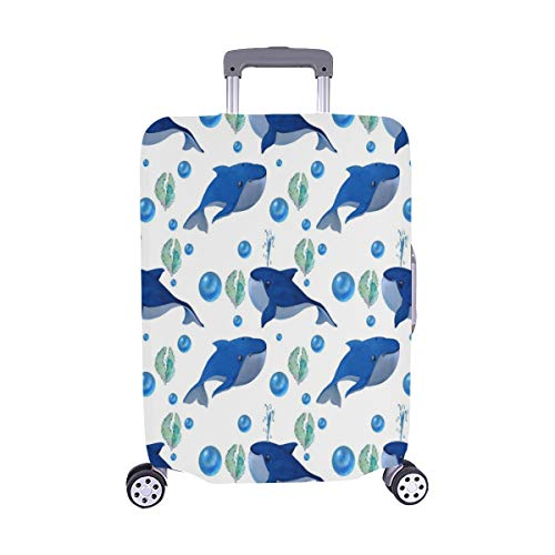 A Pattern Of Watercolor Drawings On Funny Blue Wha Pattern Spandex Trolley Case Travel Luggage Protector Suitcase Cover 28.5 X 20.5 Inch