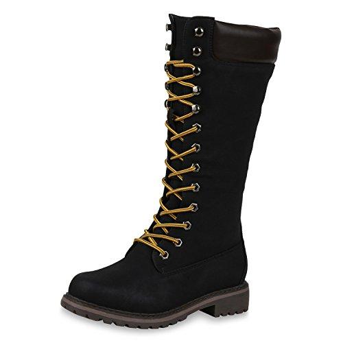 SCARPE VITA Damen Worker Boots Warm Gefütterte Stiefel Outdoor Schuhe Profil 165681 Schwarz 36