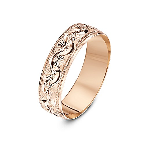Theia Unisex 9 ct Rose Gold, Garland Flowery Design with Millgrain/Beaded Edges, Polished, 6 mm Wedding Ring - Size V