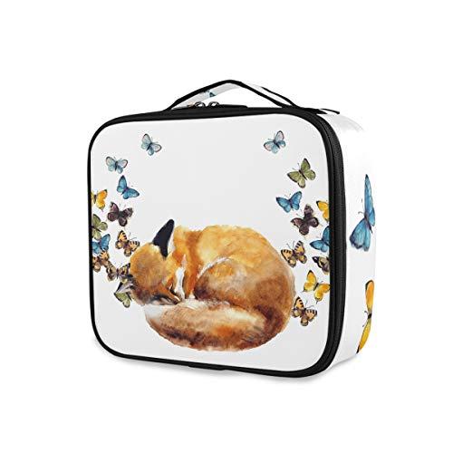 Herramientas de belleza de viaje Estuche de tren cosmético Bolsa de maquillaje portátil Bolsa de artículos de tocador de almacenamiento Animal lindo Fox y mariposa