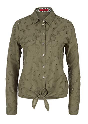 s.Oliver Damen Bluse mit Lochstickerei Summer Khaki Embro 40