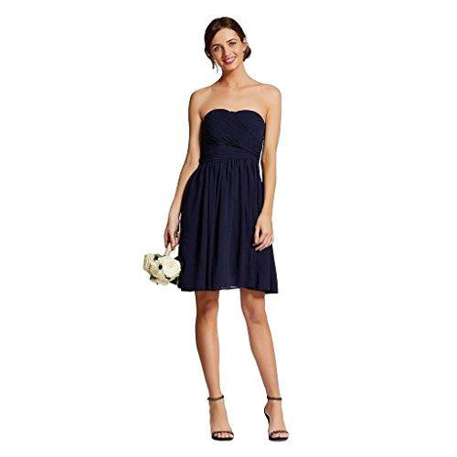 Vestido plissado sem alças de chiffon feminino Tevolio da marca Mascarado, Azul marino, 22 Plus