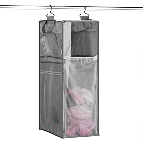 Space Saving Hanging Laundry Hamper 70L Load Capacity  Free Up Floor Space Breathable Mesh Hanging Laundry Bag amp Side Pockets Carrying Handles Zippered Front for Easy Unloading Ideal for Dorms
