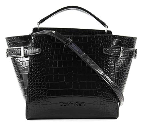Calvin Klein Winged Small Top Handle Tote Croco Black
