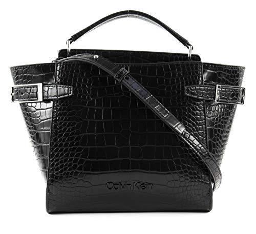 Calvin Klein Winged Small Top Handle Tote Croco Black