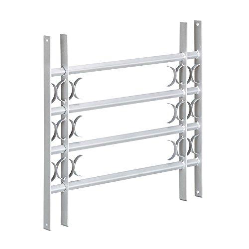 Relaxdays raamrooster, inbraakbeveiliging, uittrekbaar, buiten, verzinkt, staal, 600 x 700-1050 mm, veiligheidsrooster, grijs