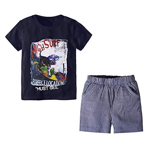 Pantalones Cortos con Camiseta 2PC Outfit Set 1-7 años Niños Bebes Perros Negros Imprimir Pijama Ropa de Verano (Perro Negro, 2-3 años)