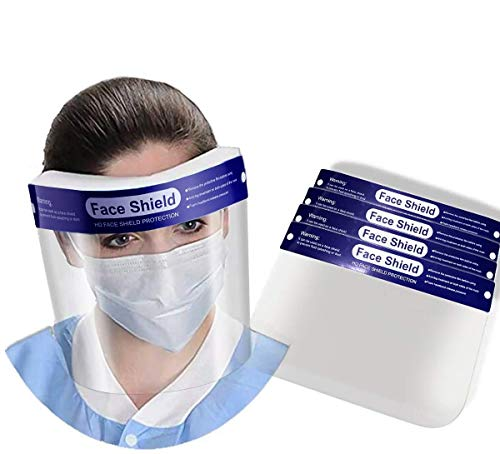 【US Stock】5PCS Safety Face Shield | Reusable Clear Plastic Transparent Anti-Splash Shield | Eyes, Full Face Protection | Elastic Band