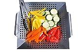 Jodhu Cesta para Barbacoa y Pinzas para Asar Verduras Pescado y Carne – Acero Inoxidable de Alta Resistencia – Tamaño Perfecto para la Mayoría de las Parrillas y Hornos