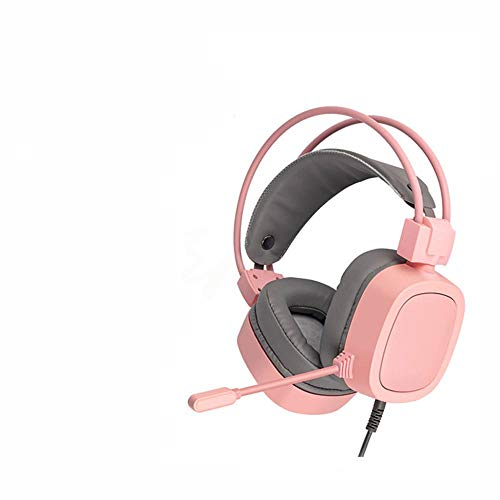 SFBBBO Headset LED Light Gamer Headsets for Computer Gaming Headphones Adjustable Stereo Wired Headset 3.5mm-Pink