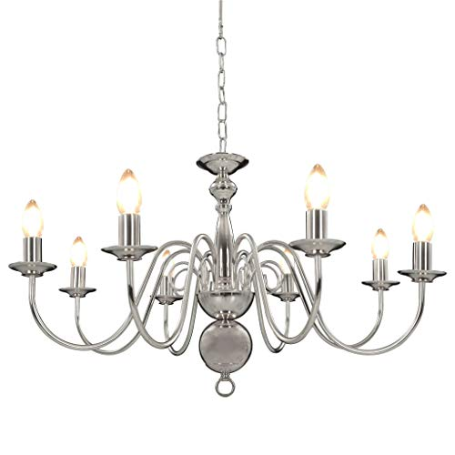 vidaXL Kroonluchter 8xE14 Zilverkleurig Verlichting Plafondlamp Licht Lampen