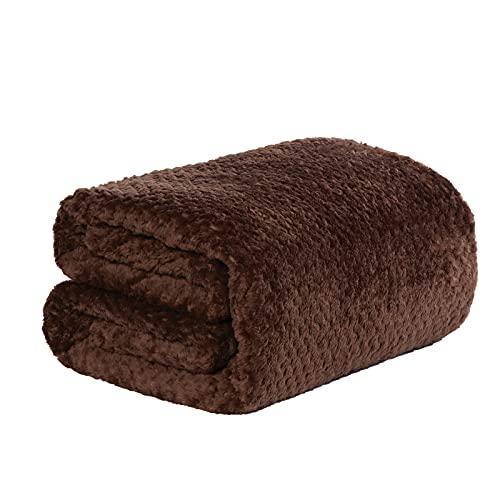 Dreamscene Premium Waffel Mink Warm Überwurf über Sofa Bett Decke, Polyester/Weiches Kunstfell, Schokolade, 125x 150cm