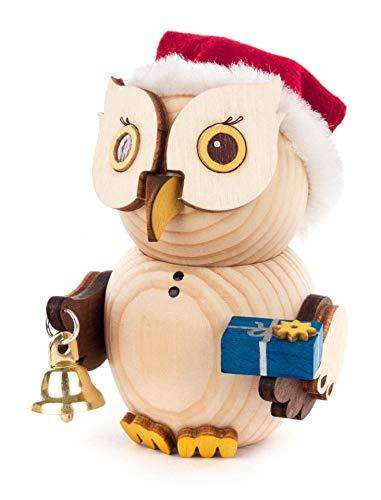 Kuhnert Minieule als Weihnachtsmann Dekofigur Original Erzgebirge Handarbeit Holzfigur Eule in modernem Design Sammlerfigur Eule Dekorationsfigur Mini-Eule