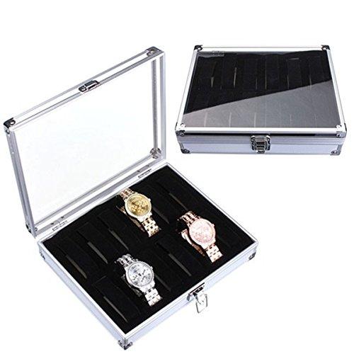 TuToy 12 Rejillas Reloj De Exhibición De La Joyería De Almacenamiento De Aluminio Caja Porta Regalo Organizador