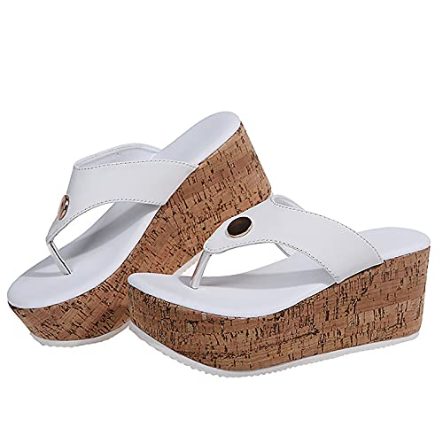 QQYXCA Sandalias de cuña para mujer, plataformas, puntera abierta, sandalias de dedo del pie, zapatos planos para caminar con puntera abierta, sandalias de playa, antideslizantes, color blanco, 38