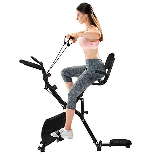 DnKelar Bicicleta estática plegable 3 en 1 con Resistencia Magnética ,Bandas de Ejercicios,Disco...
