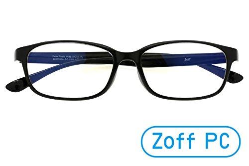 【Zoff PCクリアレンズ・パック】3Dフィットテンプル採用のパソコン用メガネ PCメガネ ウェリントン(度なし)(BLACK)
