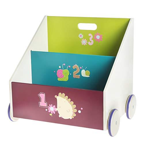 HONNIEKIS Bücherregal Kinder, Bücherregal Holz für Kinder 1-5 Jahre Alt, Kinderbücherregal- mit Rädern, Bücher Aufbewahrung, Bücherregal kinderzimmer