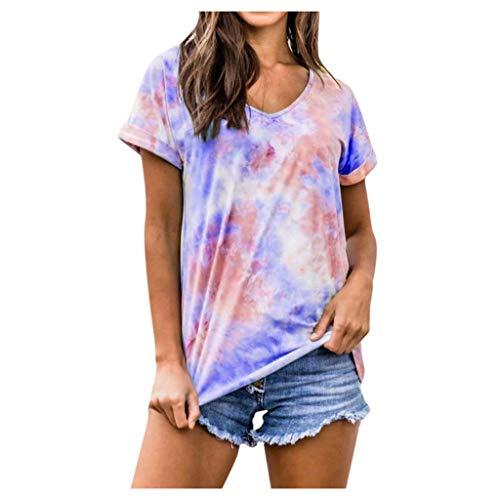 Andouy Damen Relaxed-Fit Kurzarm Tunika Tops mit V-Ausschnitt Blusen Lässige Tie-Dye T-Shirts(M.Blau)