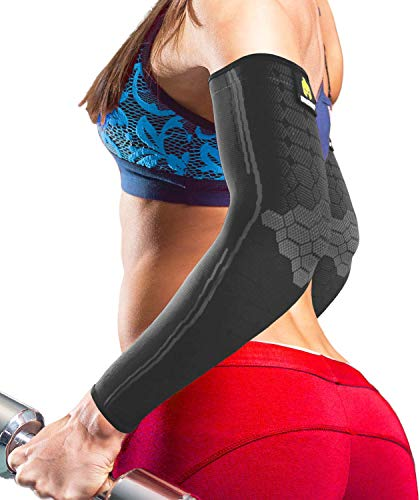 Sparthos Arm Compression Sleeve - Elbow Brace for Recovery, Support for Athletic Sports Running Tennis Baseball Lifting Football Gym Fit Shooting Weightlifting Golf - for Men and Women (Black-XS)