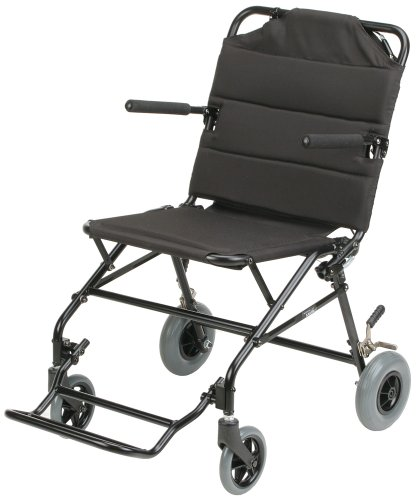 Karman Healthcare KMTV10B18B Ultra Lightweight Travel Chair with Flip Up Arms, Black, 18