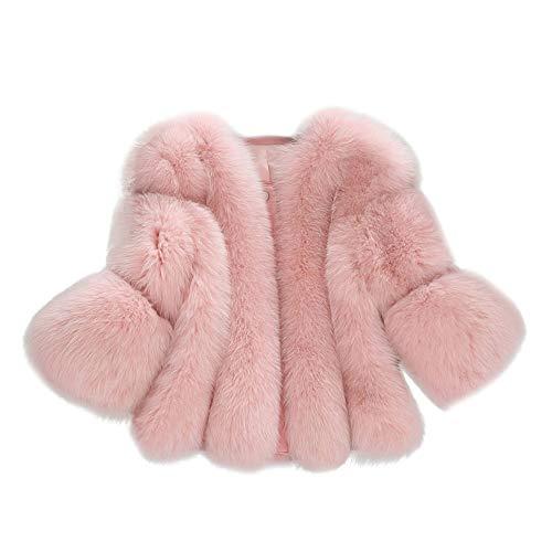Whear Women Plush Coat Luxury Faux Fur Coat Slim Long Sleeve Collar Short Overcoat Winter Jacket Outwear (Pink, M)